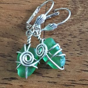 Silver earrings with sea glass